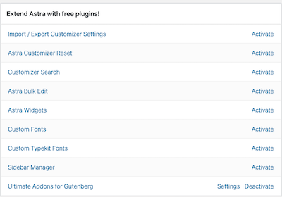 here are the available free Astra theme plugins