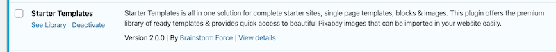 The Starter Templates plugin is now active