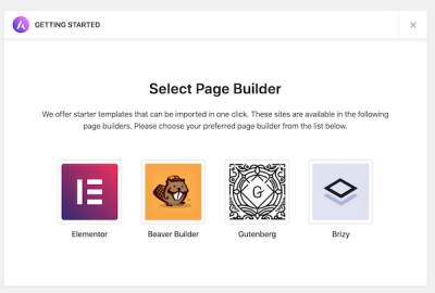 Select your preferred page builder to use with Astra