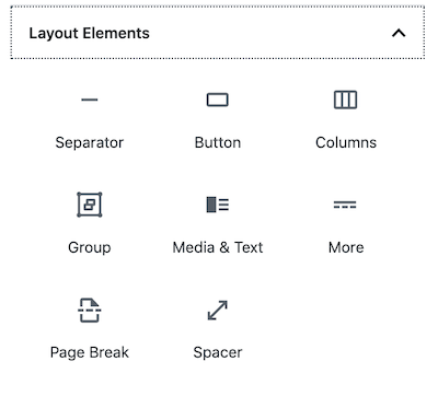 WordPress block editor Layout Elements section
