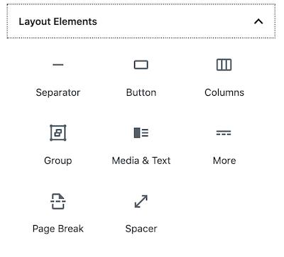 WordPress block editor Layout Elements section