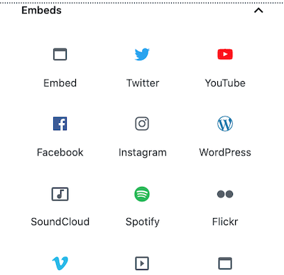the Embeds WordPress block