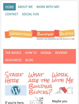 original WordPress Building Blocks homepage on a phone
