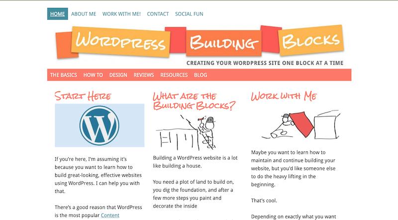WordPress Building Blocks homepage in January, 2014. Note the large header.