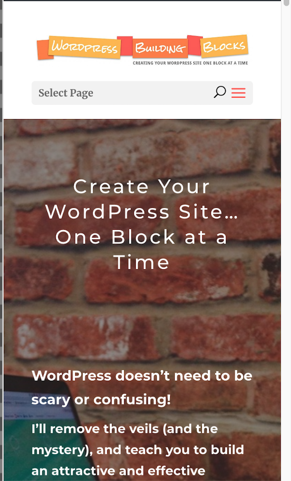 Current WordPress Building Blocks homepage on a phone screen - much more mobile responsive!
