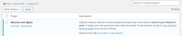 Akismet should be the first plugin listed
