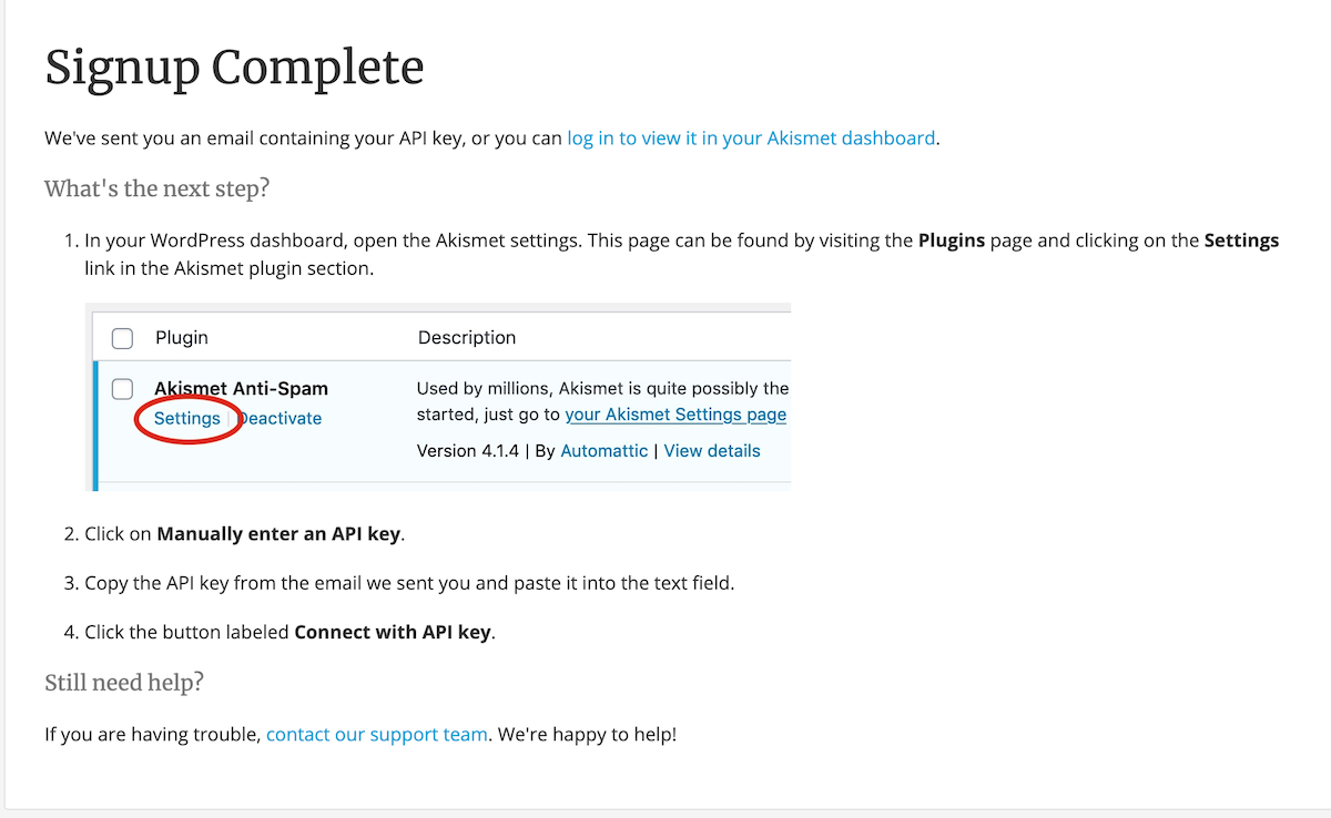 Akismet Anti-Spam signup complete screen