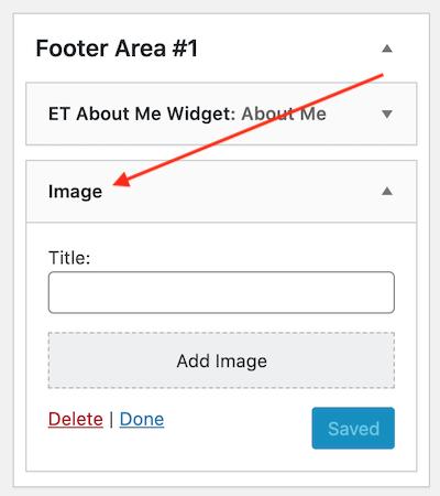new Image widget in the footer widgetized area
