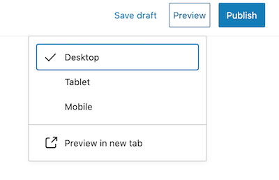 New WordPress 5.5 preview settings