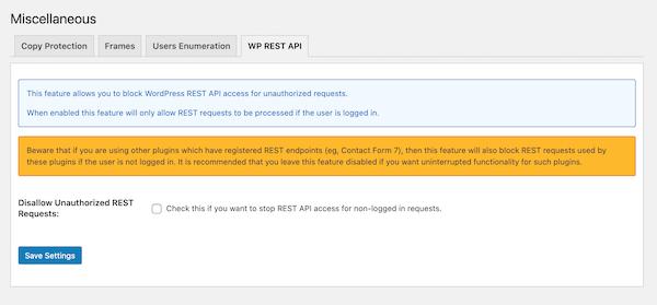 disallow REST API